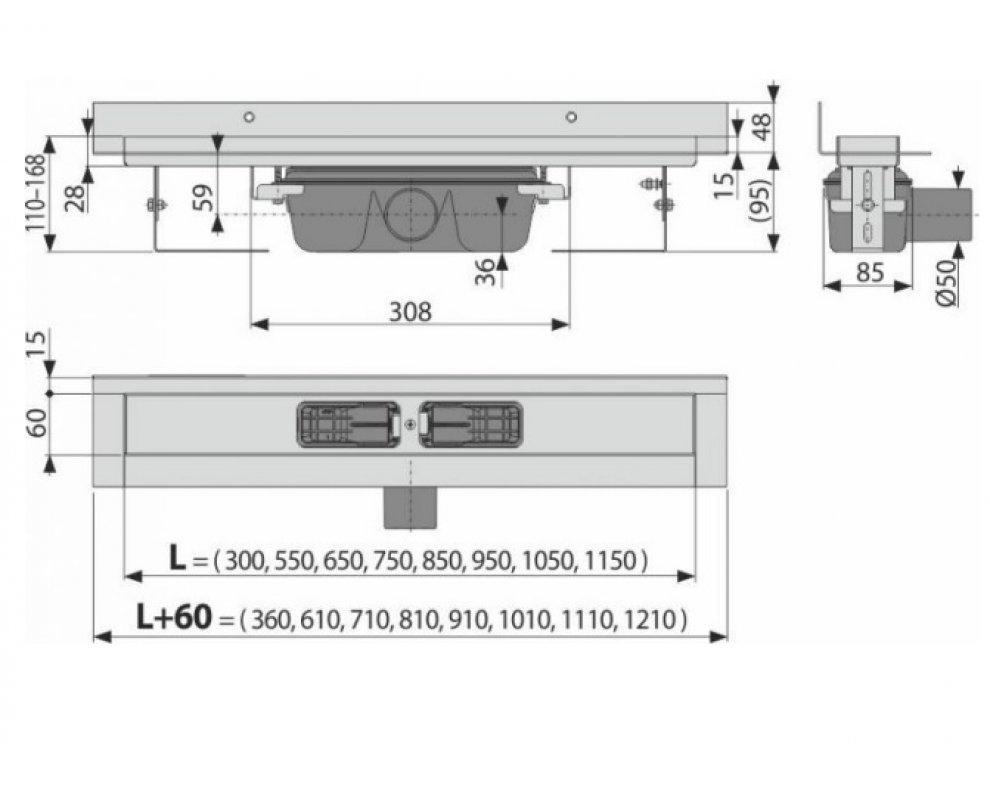 Wall - Podlahový žľab s okrajom pre plný rošt a s pevným límcom ku stene 950mm