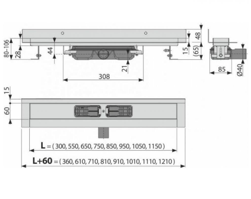 Wall Low - Podlahový žľab s okrajom pre plný rošt a s pevným límcom ku stene 950mm
