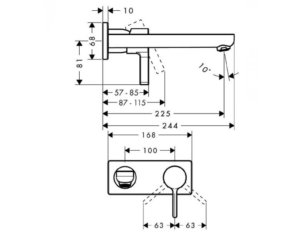 páková podomietková umývadlová batéria, chróm, Metris S