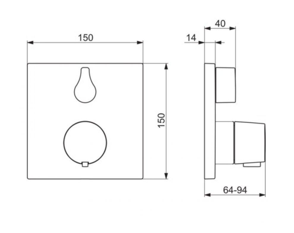 Sprchová termostatická batéria HANSABLUEBOX funkčná jednotka s dekoračnou súpravou, HANSALIVING