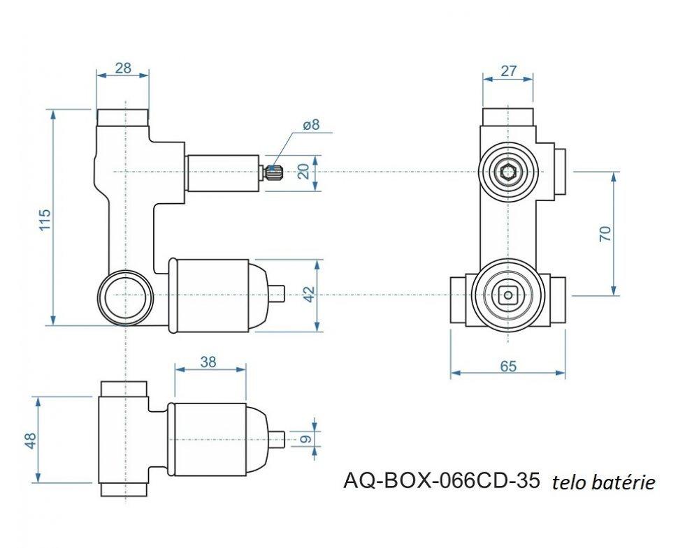 batéria AQS sprchová podomietková pre 2 odberné miesta, s AQ-boxom a s keramickým prepínačom, MARINA