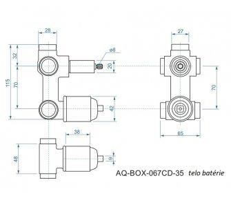 batéria AQS sprchová podomietková pre 3 odberné miesta, s AQ-boxom a s keramickým prepínačom, MARINA