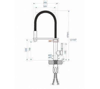 batéria AQS drezová stojanková profesionálna s flexibilným ramenom, GOURMET
