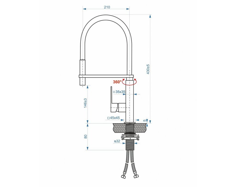 batéria AQS drezová stojanková profesionálna s flexibilným ramenom, LOUNGE