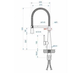 batéria AQS drezová stojanková profesionálna s flexibilným ramenom, CHEF