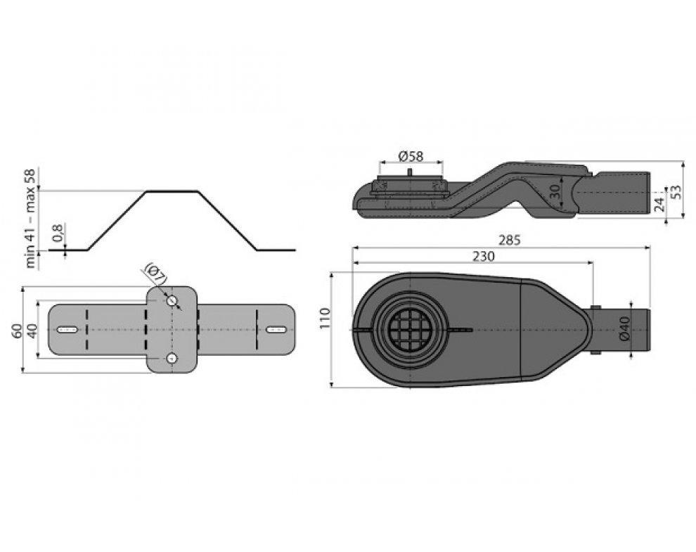 Extra-nízky sifón DN40 a sada nastaviteľných nôh