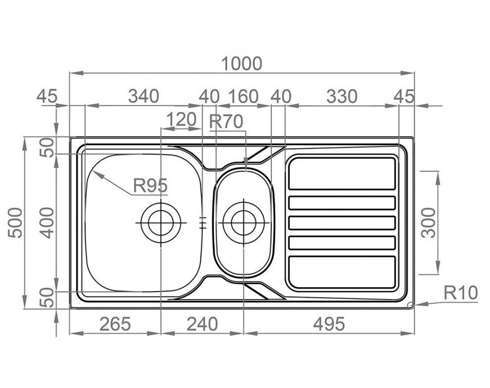 Drez nerezový Sinks OKIO 1000.1 V 0,6mm matný