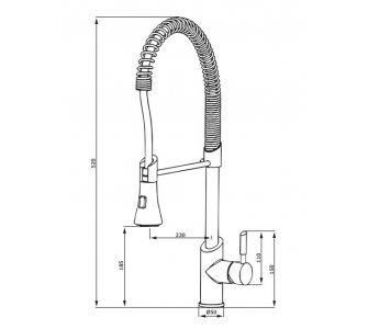 batéria drezová stojanková profesionálna s výsuvnou sprchou, K-PRO 3