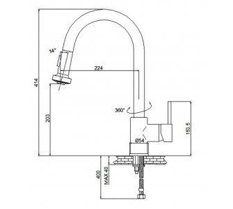 batéria drezová stojanková s výsuvnou sprchou, PULL 3