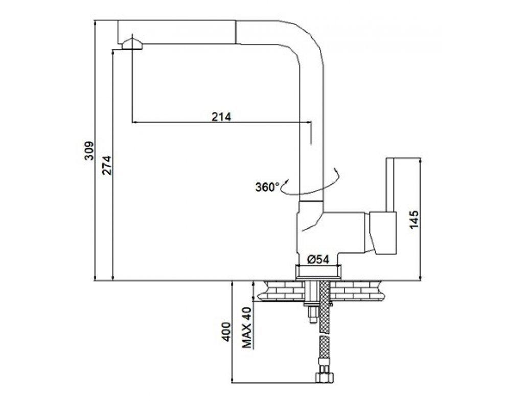 batéria drezová stojanková s výsuvnou sprchou, PULL 1