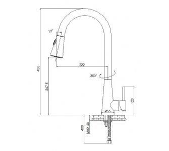 batéria drezová stojanková s výsuvnou sprchou, PULL 4