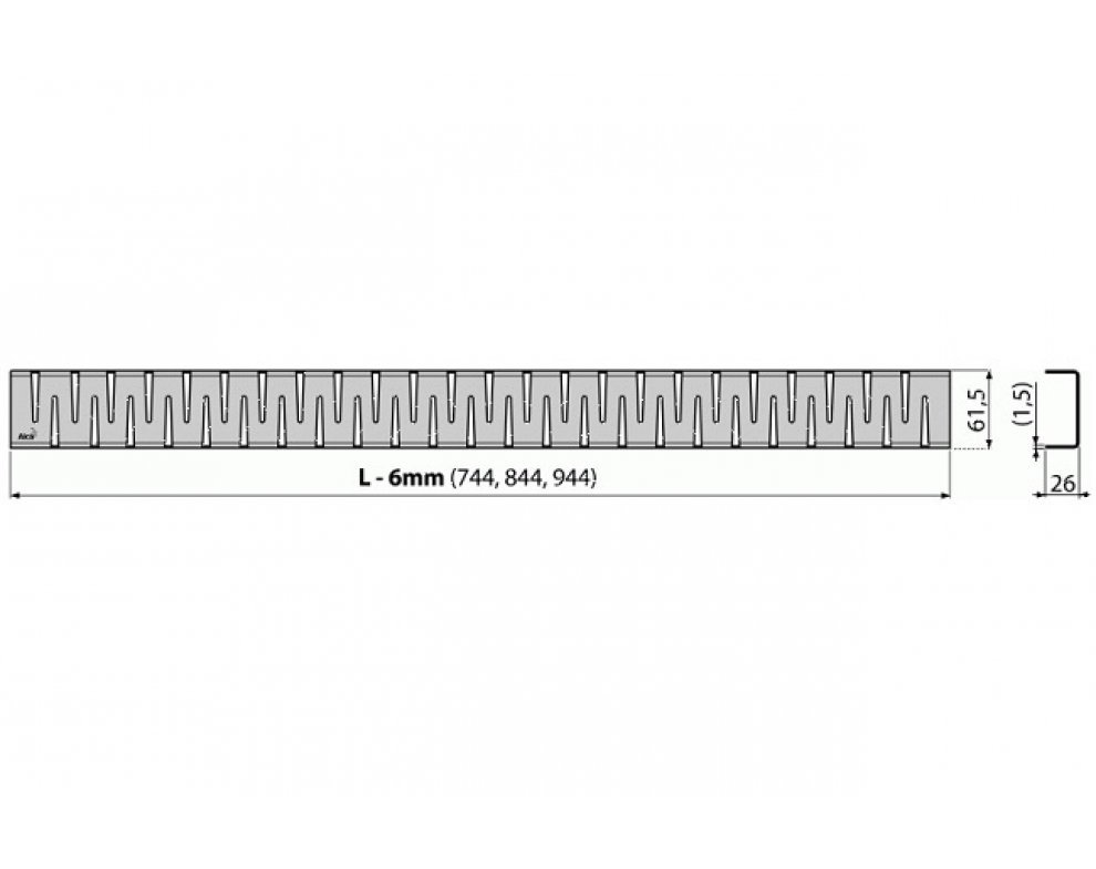 Rošt pre líniový podlahový žľab, nerez-lesk 850mm
