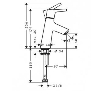 stojankový ventil pre studenú vodu, ComfortZone 80, TALIS S, chróm