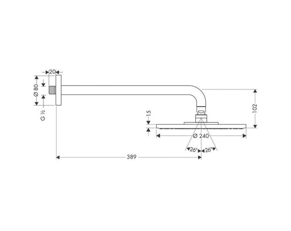 hlavová sprcha d 240mm, EcoSmart 9l/min., so sprchovým ramenom, RAINDANCE S, chróm