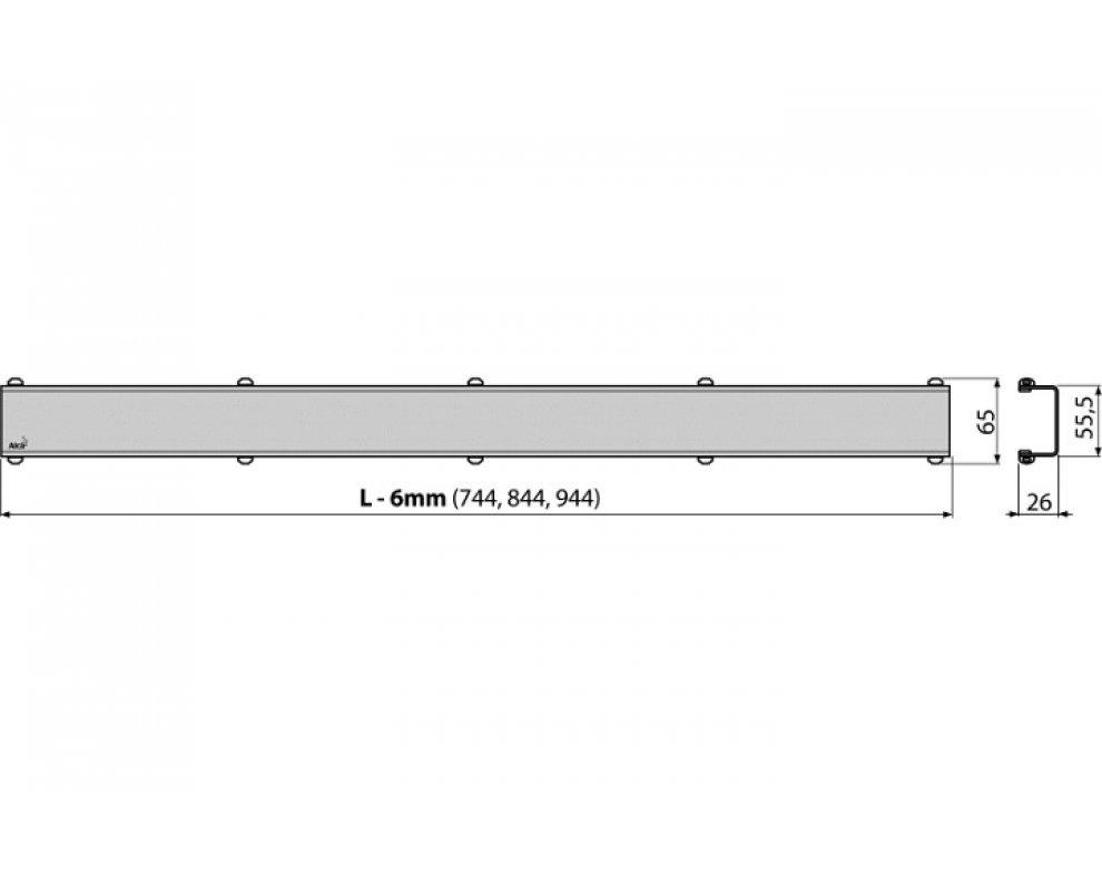 Rošt pre líniový podlahový žľab, nerez-mat 850mm