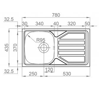 Drez nerezový Sinks OKIO 780 V 0,5mm matný