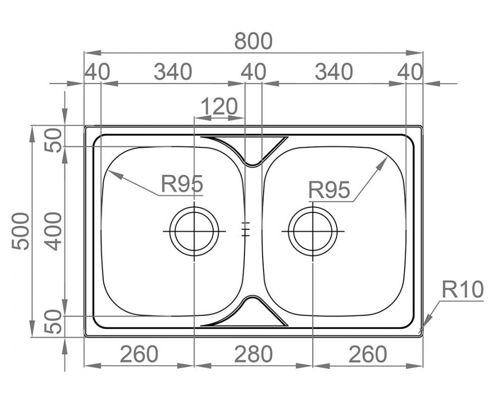 Drez nerezový Sinks OKIO 800 DUO V 0,6mm leštený