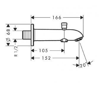 vaňový výtok E/S s prepínačom, chróm, Talis S2