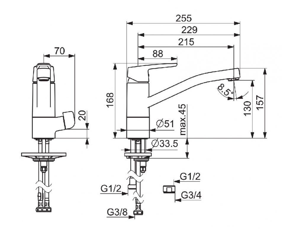 batéria drezová stojánková s uzatváracím ventilom pre umývačku, HANSAPOLO
