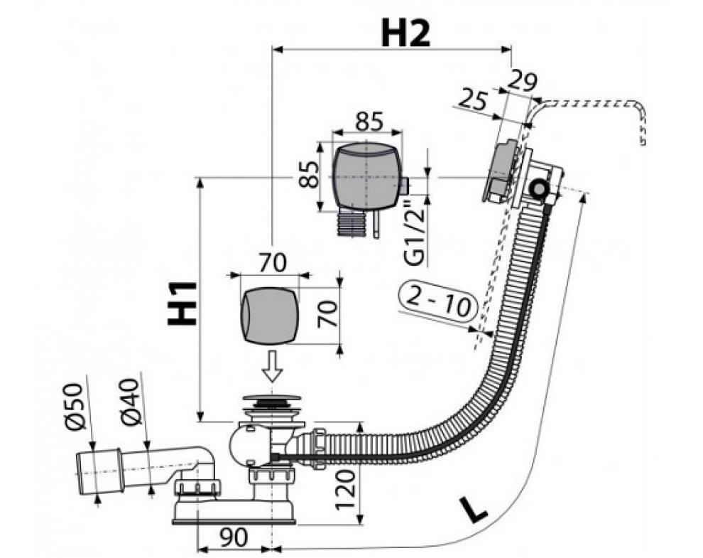 Sifón vaňový automat s napúšťaním prepadom, chróm
