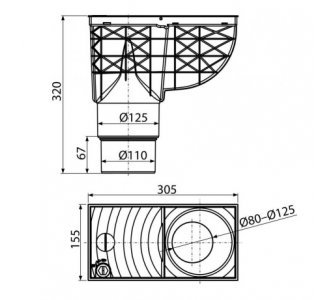 Univerzálny lapač strešných splavenín 300 × 155/125/110 priamy čierny