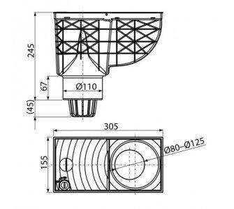 Univerzálny lapač strešných splavenín 300×155/110 mm priamy,čierny