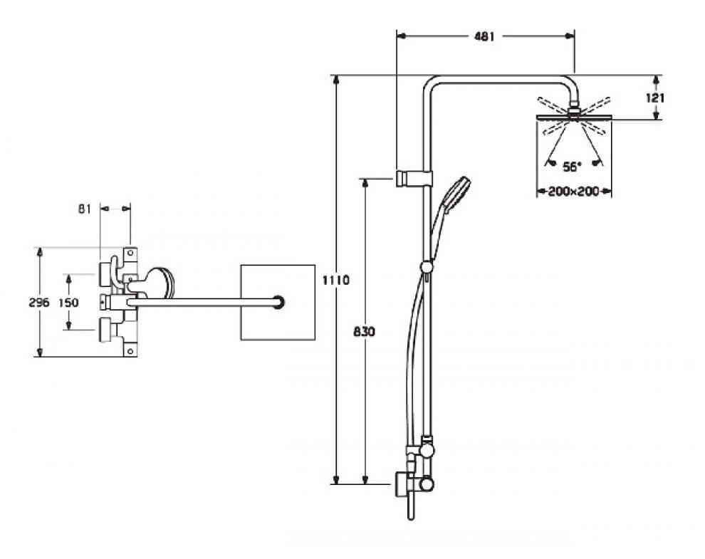 5814 9113 0067 HANSAUNITA, sprchová termostatická batéria, DN 15 (G 1/2), s priamo pripojeným sprchovým systémom