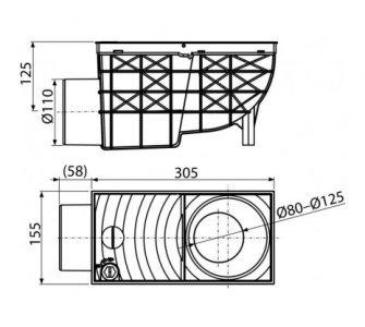 Univerzálny lapač strešných splavenín 300×155/110 mm bočná, čierna