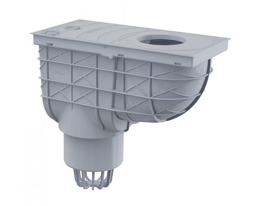 Univerzálny lapač strešných splavenín 300×155/110 mm priamy, šedá
