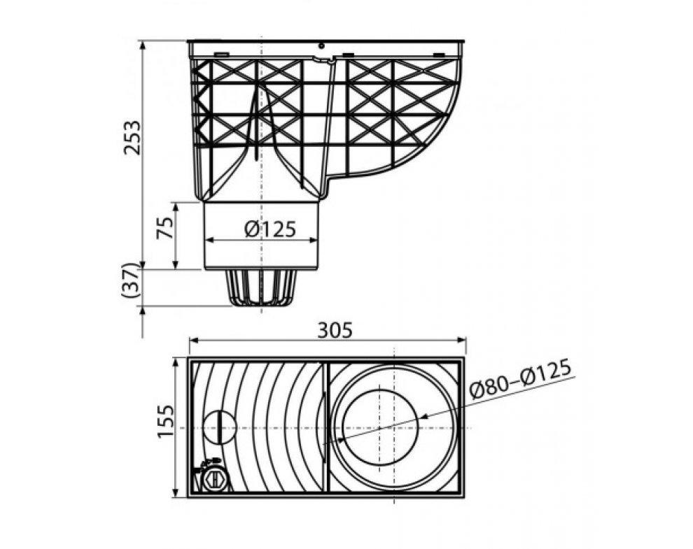 Univerzálny lapač strešných splavenín 300×155/125 mm priamy, čierna