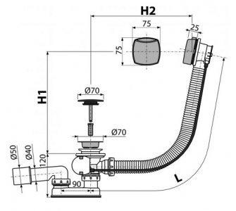 Sifón vaňový automat komplet, chróm