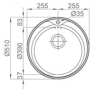 Drez nerezový Sinks REDONDO 510 M 0,6mm matný