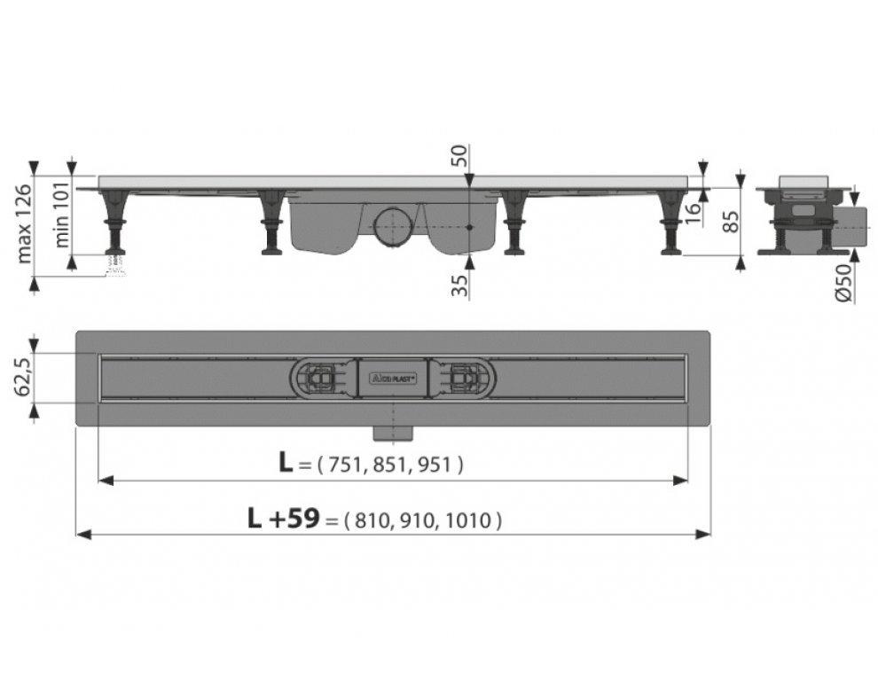 Optimal - Podlahový žľab s nerezovým okrajom pre perforovaný rošt alebo vloženie dlažby