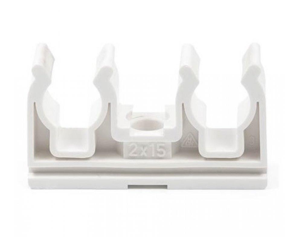 Plastová dvojpríchytka D2x15