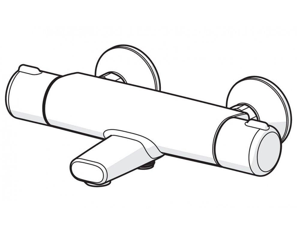 batéria vaňová stenová termostatická bez príslušenstva, HANSAMICRA
