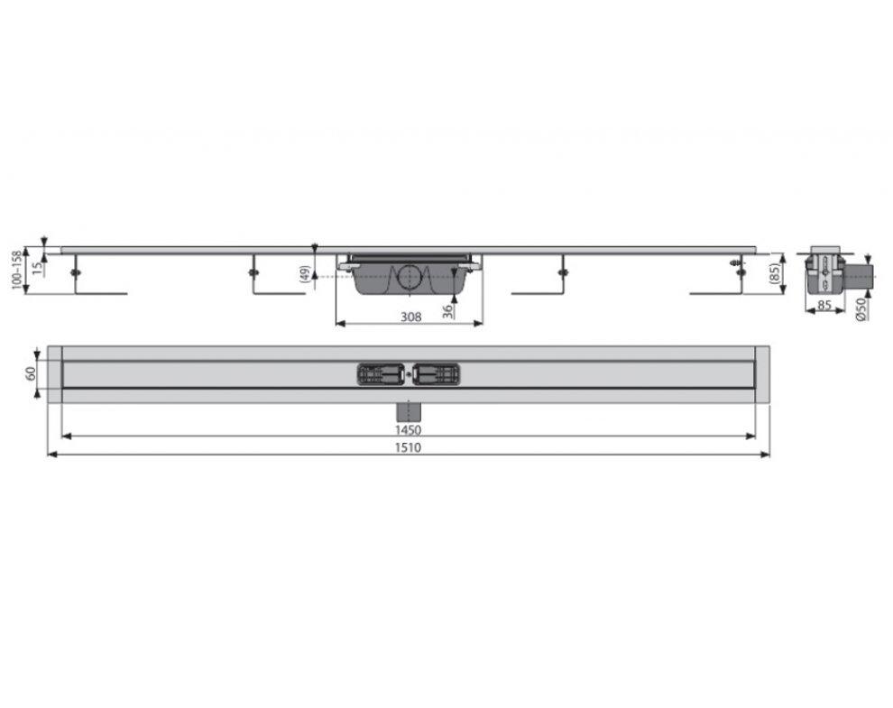 Podlahový žľab s okrajom pre perforovaný rošt, dĺžka 1450mm