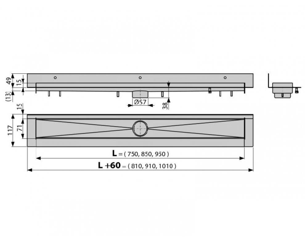 podlahový žľab, dĺžka 750mm, nerez, MODULAR WALL