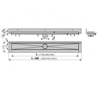 podlahový žľab, dĺžka 850mm, nerez, MODULAR WALL