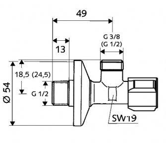 SCHELL rohový regulačný ventil COMFORT s filtrom, 1/2