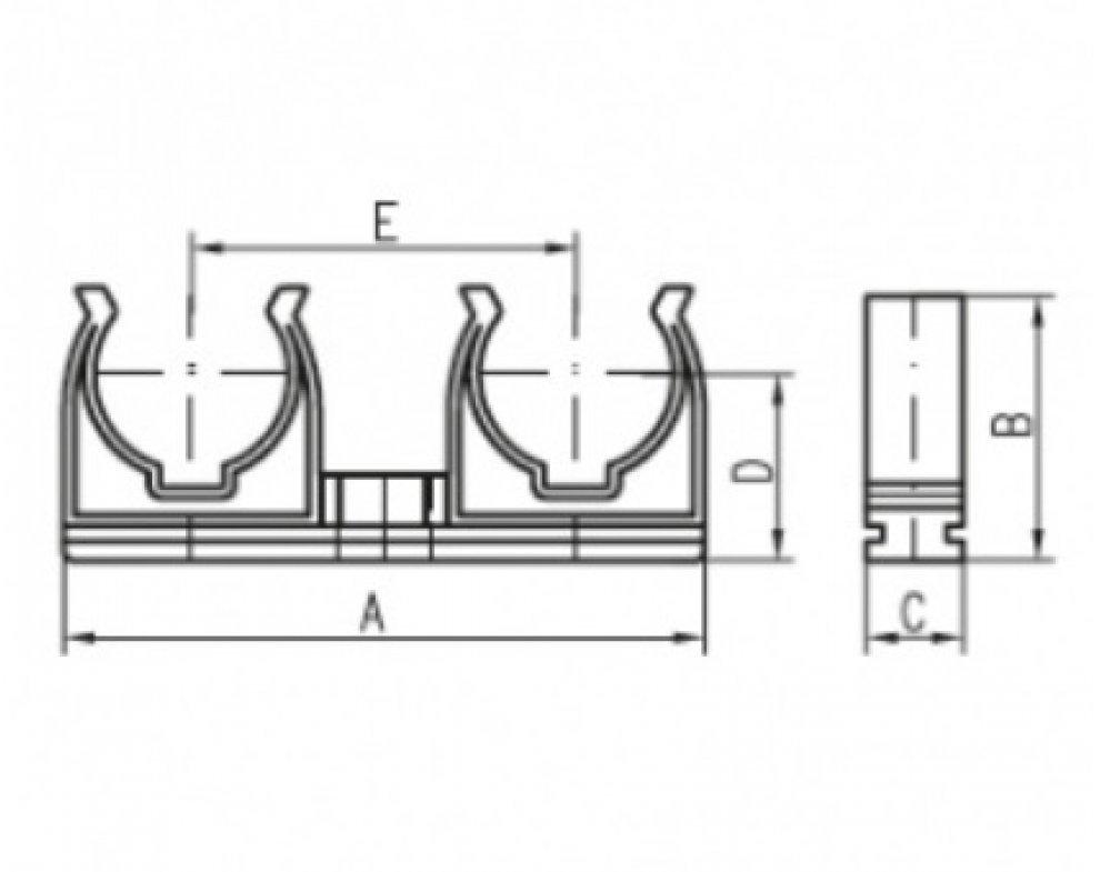 Plastová dvojpríchytka D2x22