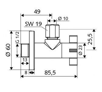 SCHELL designový rohový ventil 4WING, 1/2