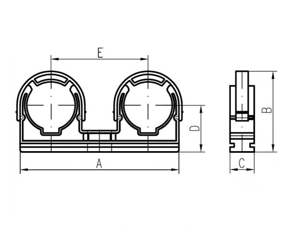Plastová dvojpríchytka so strmeňom D2x28