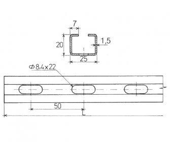 nosník C 25x20, l - 500mm zn. (88831271860)