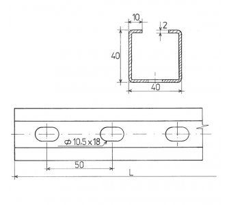 nosník 38/40x2000mm pozink (88831384020)