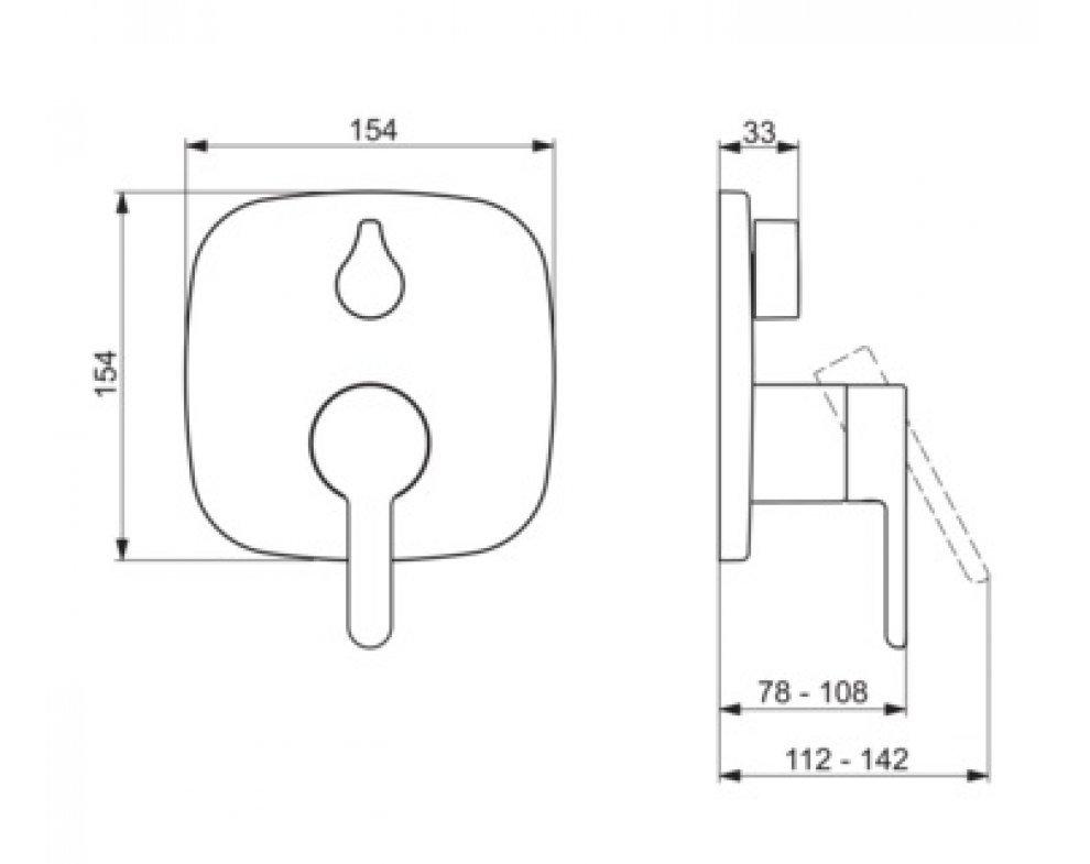 batéria sprchová podomietková pre 2 odberné miesta, HANSADESIGNO