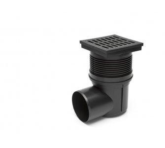 Kanalizačná vpusť bočná so suchou klapkou, plastová mriežka 150x150mm, DN 110