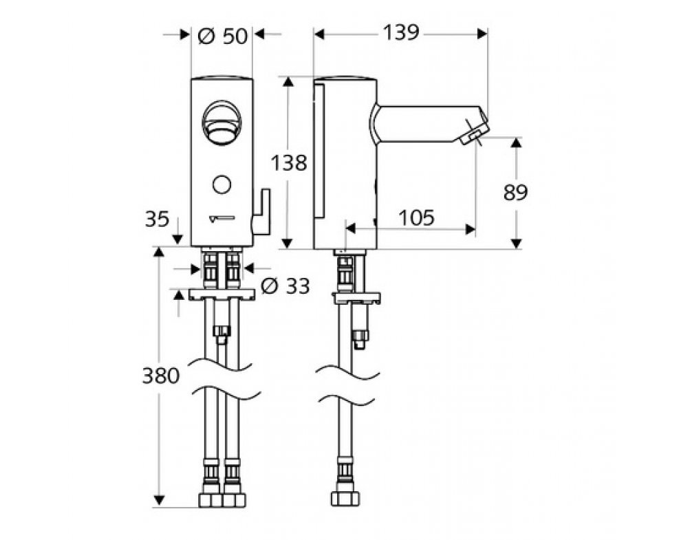 SCHELL senzorová umyvadlová armatura MODUS E HD-M, zdroj 12 V, s regulátorom teploty