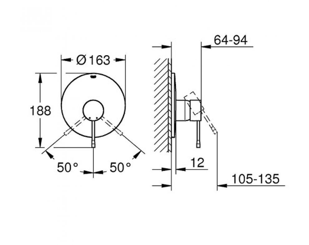 batéria sprchová podomietková pre 1 odberné miesto, ESSENCE