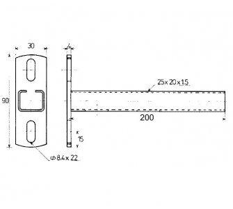 konzola nosníková C 25x20x1,5mm 200mm (88832271820)