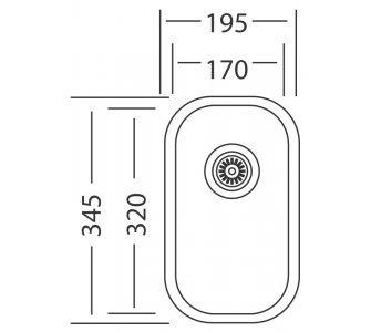 Drez nerezový Sinks UNDERMOUNT 195 V 0,6mm matný